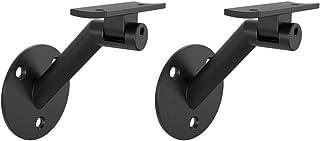 Black, 1 Pack AMSOOM Adjustable Handrail Bracket Wall Mounted Steel Metal Railing Bracket Stairway Support DIY Easy Installation Stair Accessories Hardware for Wood Round Railings.