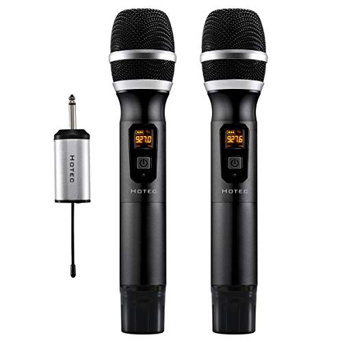 Hotec 25 Channel UHF Wireless Microphone Dual Microphone with Mini Portable Receiver 1/4' Output, for Church/Home/Karaoke/Business Meeting (Dual mic)