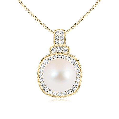 rope-edged perla vintage collana con pendente con diamante Halo e Oro giallo, cod. ANG-P-SP0949FWPRD-YG-AAA-9