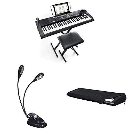 Alesis Melody 61 MKII - Tragbares Keyboard mit 61 Tasten, Eingebauten Lautsprechern, Kopfhörern, Mikrofon, Klavierständer, Notenständer und Hocker + Stretch Staubschutz + Notenleuchte mit zwei LEDs