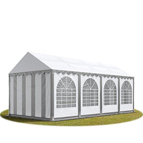 TOOLPORT Festzelt XXL Partyzelt 4x8m, hochwertige 550g/m² feuersichere PVC Plane nach DIN in grau-weiß, 100% wasserdicht, vollverzinkte Stahlkonstruktion mit Verbolzung, Seitenhöhe ca. 2,6 m