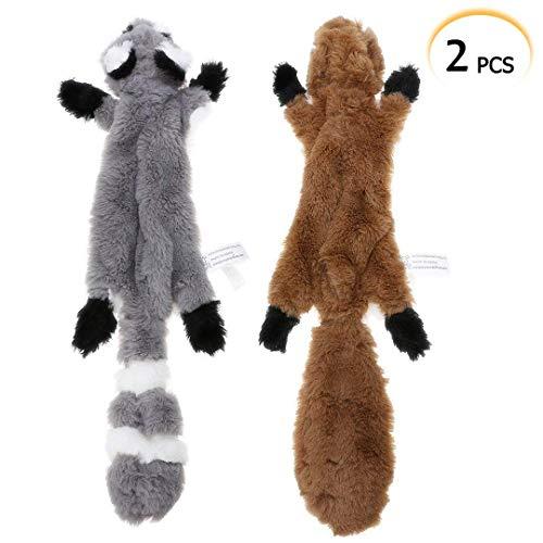 PDTO Hundespielzeug ohne Füllung, 2 Stück, Eichhörnchen, Waschbär, Plüschtier, ohne Füllung, für kleine und mittelgroße Hunde, 42 cm