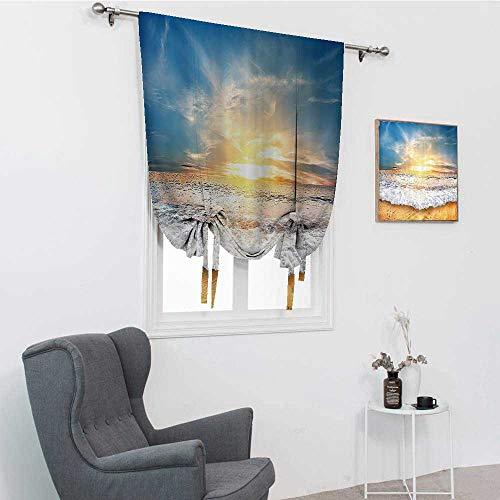 Ocean Decor Collection Curtains for Kitchen, Idyllic Scene of a Sunset with Zippy Waves Moving on to Sand at a Beach Picture Print Tie Up Curtains for Window, Blue Beige Yellow White, 42' x 72'