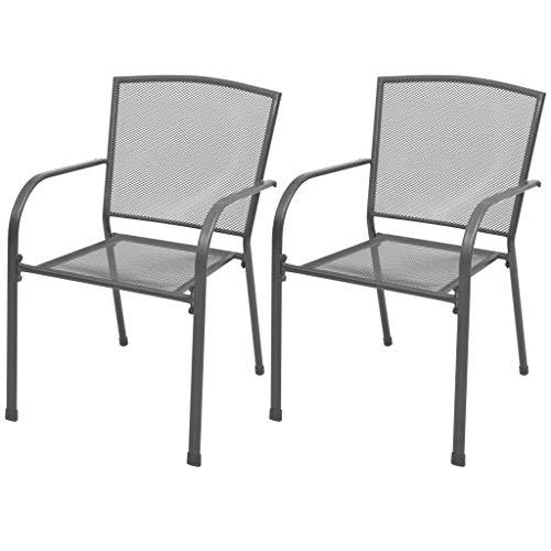 vidaXL 2X Gartenstuhl Stapelbar Streckmetall Stuhl Essstuhl Esszimmerstuhl Stühle Metallstuhl Balkonstuhl Stapelstuhl Terrasse Garten Stahl Grau