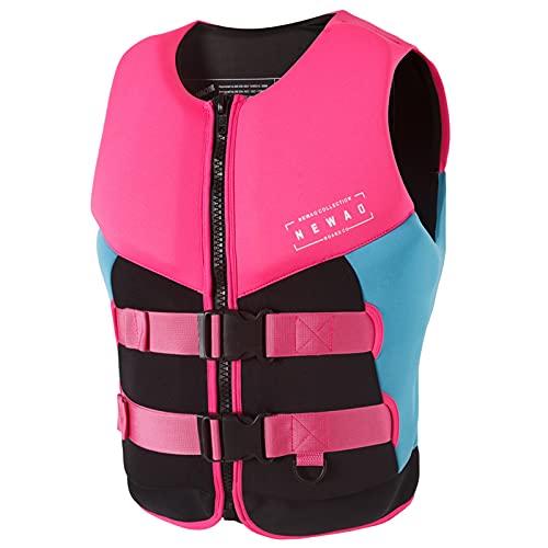 FSDH Chaqueta de Rescate de Nylon Impermeable con cinturón de Seguridad Ajustable, Chaleco de natación para Adultos, Chaleco de Vida de Pesca de Primeros Auxilios de kaya Pink Black-L
