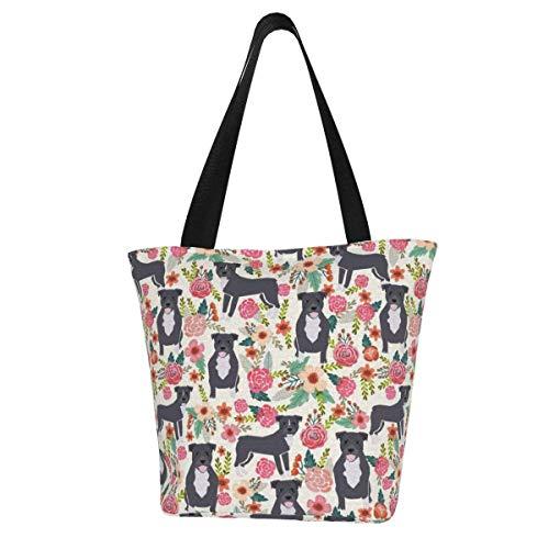Personalisierte Leinen-Tragetasche, Pitbull Floral große Hunderasse Pitbulls waschbare Handtasche Schultertasche Einkaufstasche für Frauen