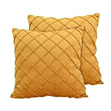 GKGM Yellow Throw Pillow Covers Decorative Velvet Checker Pattern Plaid Square Pack of 2 for Couch Sofa Bedroom Office Car,Yellow, 18X18 in(2 Pack)