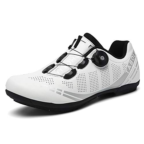 JINFAN Zapatillas De Ciclismo para Hombre Zapatillas De Bicicleta De Carretera MTB con Zapatillas SPD Peloton con Hebilla Delta Compatible para Carreras En Interiores,White(Sole-Rubber)-40EU=(250mm)