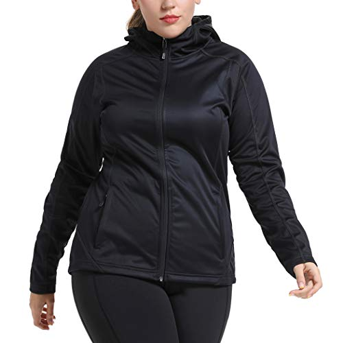 YOHOYOHA Women's Plus Size Waterproof Softshell Jacket Full Zip Stand Collar Hoodie Fleece Lined