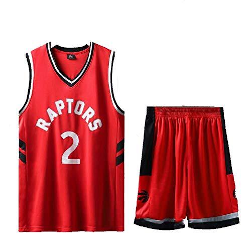 Raptors # 2 Basketball Trikots für Jungen Jungen Westen, Mädchen Top Shorts Weste Kit Set Uniform Unisex Jugend ärmellose Sport Tops T-Shirt Sportswear-red-L