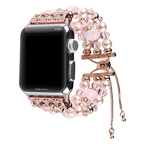 Juzzhou Band For Apple Watch iWatch Series 1 2 3 4 Woman Lady Bracelet Beaded Faux Pearl Bling Stone Crystal Jewels Wrist Strap Wristband Wriststrap With Adapter Adjustable Clasp Buckle 42mm 44mm