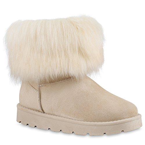 Damen Stiefeletten Stiefel Kunstfell Schlupfstiefel Boots Schuhe 128698 Creme 38 Flandell