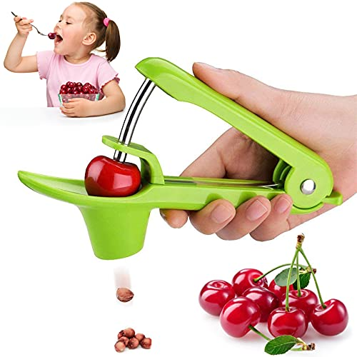 Cherry Pitter Tool Cherry Olive Seed Remover Tool Stainless Steel Cherry Stoner Pitter olive pitter Suitable for Cherries MultiFunction Portable Cherries Pitter Tool with SpaceSaving Lock