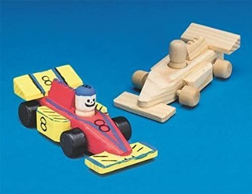 Mini Unfinished Wood Race Cars (Pack of 12) by S&S Worldwide (English Manual)