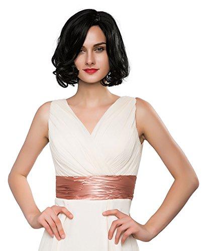 La Vogue Perruque Droite Mi Longue Femme Postiche Cheveux Humains Boucle Perruque Bob Cosplay Modèle5