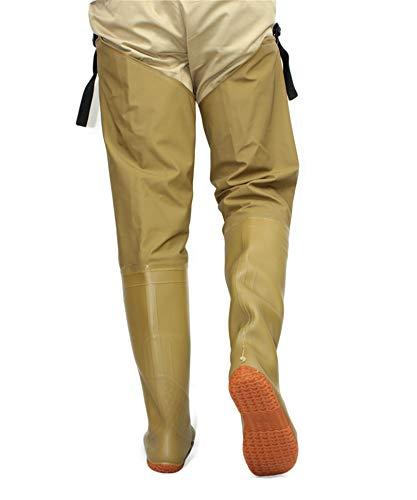 QTDZ Verschleißfest und Wasserdicht 80Cm Hoch Anglerhose mit Stiefel, Herren Damen Mehrzweck Wathose Boots, Größe 35-45 Hip Wader Atmungsaktive Teichhose PVC/Nylon Gummistiefel,Beige,43 EU
