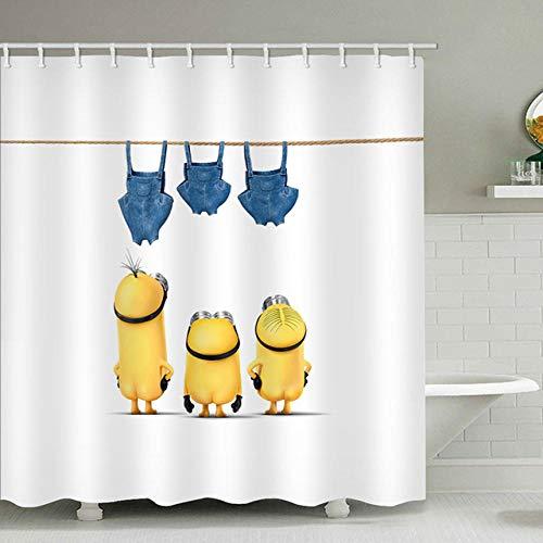 None brand Duschvorhänge Mischievous Minions Series Duschvorhänge Badvorhang Polyester Wasserdichter Badvorhang-180 cm x 220 cm