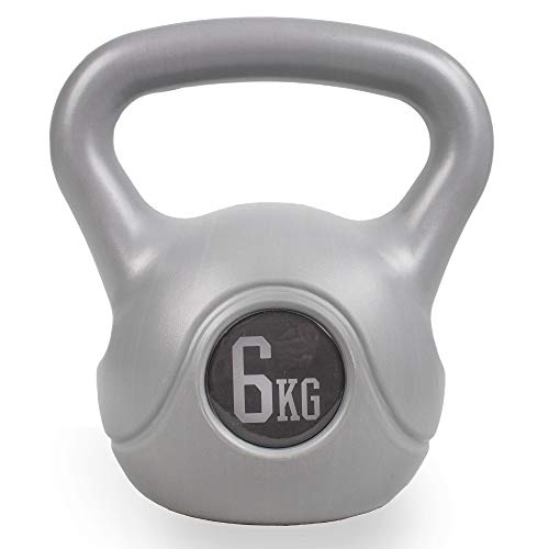 Phoenix Fitness RY931 Vinyl Kettlebell - Heavy Weight Kettle Bell for Strength and Cardio Training, Silver, 6KG