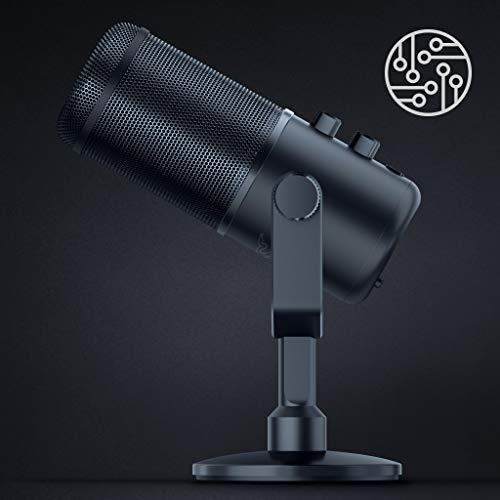 Razer Seiren Elite - USB Kondensator-Mikrofon für Streaming (Kompakt mit integriertem Schockdämpfer, Superniere Aufnahmemuster, Hochpass-Filter, Digital/Analog-Limiter) Schwarz