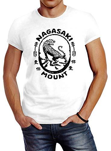 Neverless® Herren T-Shirt Tiger Aufdruck Japan Schriftzeichen Nagasaki Mount Schriftzug Fashion Streetstyle weiß XL