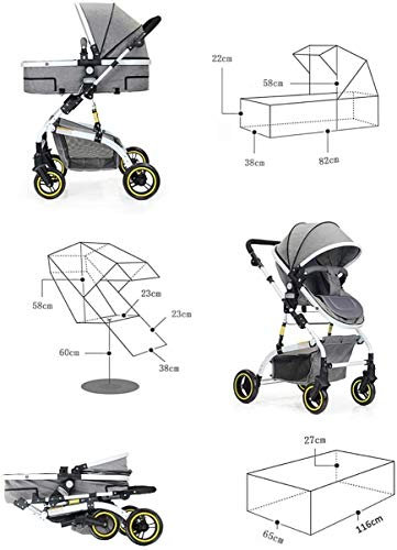 LAMTON Baby Stroller High Landscape, City Jogging Four-Wheel Collapsible Two-Way Shock Adjustable Baby Stroller to Send Mosquito Net Cotton Pad Foot Cover Wrist Band, Suitable for 0-36 Months Baby LAMTON This double stroller features an aeronautical aluminum frame that makes it lighter and stronger, and the fabric is made from linen for a more breathable and refreshing look. The front wheel design of the stroller can be rotated 360°, the built-in spring shockproof, strong shockproof, adapt to a variety of review roads, making the baby more comfortable. Stroller configuration: equipped with a five-point seat belt, detachable armrests, adjustable pusher height, and an enlarged basket at the bottom. 8