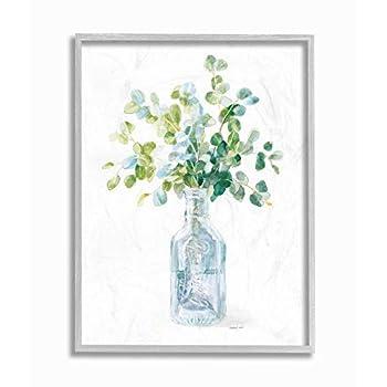 Stupell Industries Flower Jar Still Life Green Blue Painting Gray Framed Wall Art 11 x 14 Multi-Color