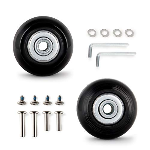 KINPAR 50MM Luggage Replacement Wheels,Luggage Suitcase Replacement Wheels Kit,Axles 30MM,35MM,Deluxe Repair (Black)