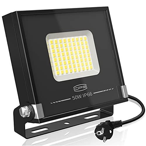 CP3 Focos LED Exterior 50W,LED Proyector Equivalente a 250W,4000LM Blanco Frío 5000K IP66 Impermeable Reflector LED para Terraza, Patio, Jardín, Garaje, Campo Deportivo, Estadio, Fábrica