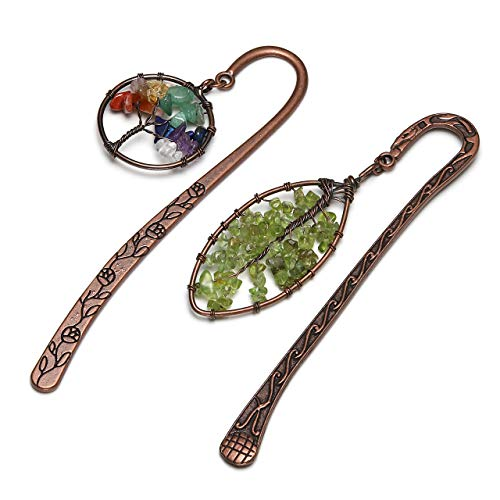 JOVIVI 2pcs Antique Copper Metal Bookmark Beading Bookmarks with Handmade 7 Chakra Healing Crystals Tree of Life Tumbled Gemstones & Leaf Bead