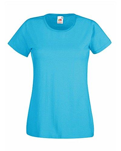 Fruit of the Loom Valueweight Damen-T-Shirt, 3 Stück Gr. Large, 3er-Pack Azurblau