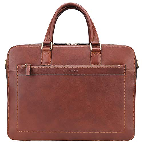 Banuce Full Grains Leather Briefcase for Men 14 Inch Laptop Bags Business Work Bags Brown