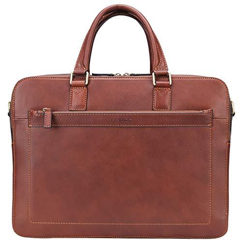 Banuce Full Grains Leather Briefcase for Men Business Handbags 14 Inch Laptop Shoulder Messenger Bag Brown