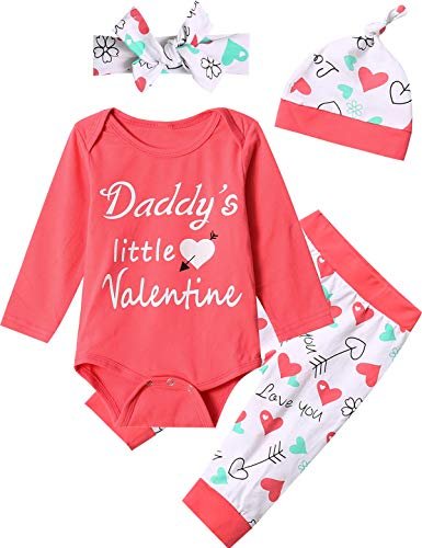 Dramiposs Father's Day Outfit Set Baby Girls Daddy's Little Valentine Tops Pant Clothing Set (Pink,...