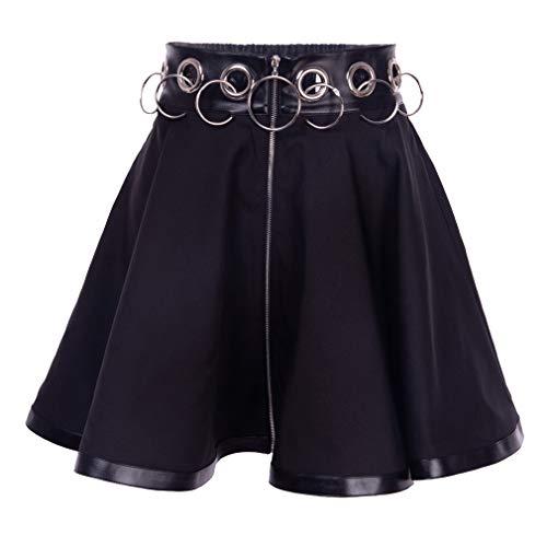 Damen Minirock Harajuku Stil Rock Persönlichkeit Kette Spleißen Gothic Rock Hohe Taill Slim Fit Faltenrock Vintage Plaid Freizeitrock, Mehrere Stile