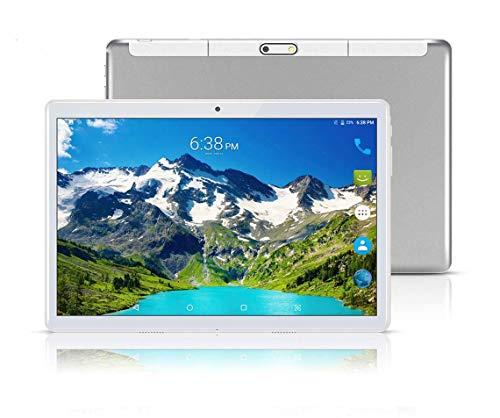"""Tablet Android con doppio slot per schede SIM sbloccato 10.1 """"Schermo in vetro IPS Octa Core 4 GB RAM 64 GB ROM 3G Phablet con WiFi GPS Bluetooth Netflix Google Play (Silver)"""