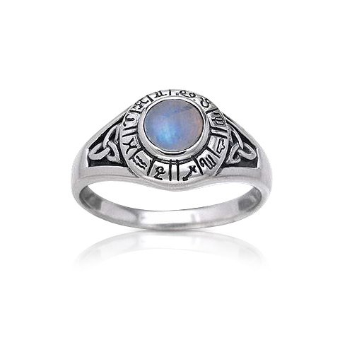 Zodiac Wheel Astrological Symbols Sterling Silver Celtic Knot and Rainbow Moonstone Ring Size 8(Sizes 4,5,6,7,8,9,10,11)