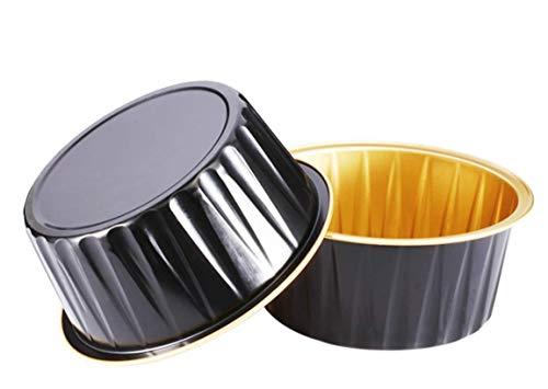 KEISEN 5oz 3 2/5' Set of 24 Disposable Aluminum Foil Cups 125ml for Muffin Cupcake Baking Bake Utility Ramekin Cup (black gold)