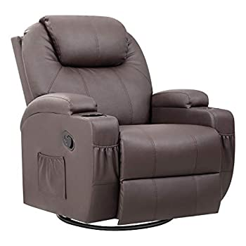 Pawnova PU Leather Chair with Massage Function Adjustable Home Theater Single Recliner Thick Seat and Backrest 360°Swivel and Rocking Sofa for Living Room Brown