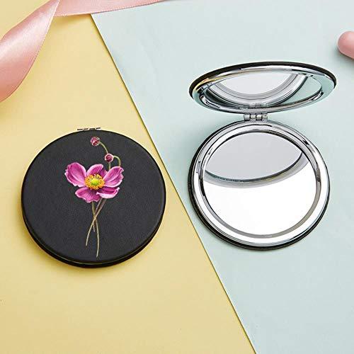 LASISZ Fleurs Filles Maquillage Miroir Mini Portable Deux Côtés Pliant Loupe Poche Cosmétique Cosmétique Vanité Miroirs pour Femmes, M0007-noir-Rond