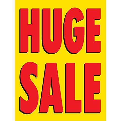 HALF PRICE BANNERS | Huge Sale Vinyl Banner -Mesh Wind Resistant 4X3 Foot -Yellow | Includes Zip Ties | Easy Hang Sign-Made in USA