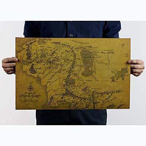 Delleu Mapa Tierra Media El Señor Anillos Cartel