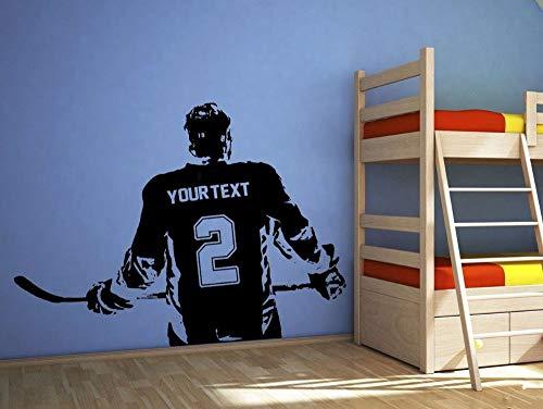 Sanzangtang Poster Jongen kamer Hockeyspeler Muurtattoo wensnaam wensnaam gepersonaliseerde decoratie thuis Muurtattoo voor kinderkamer