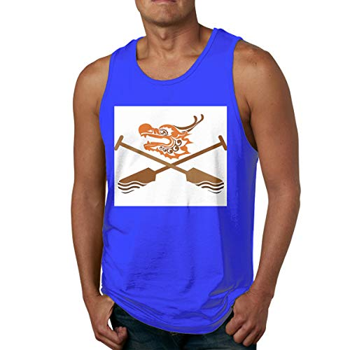 Happiness Station Men's Sleeveless Beach Tank Tops, Fitness Shirts Printing Oar Dragon Boat Icon with Crossed Paddles Traditional Culture Sports Graphic Art Dark Orange Brown