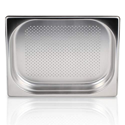 Greyfish GN Behälter :: gelocht :: geeginet für Gaggenau/Miele/Siemens Dampfgarer (Edelstahl/Spülmaschinentauglich, Gastronorm 1/2, B 32,5 x T 26,5 x H 4,0)