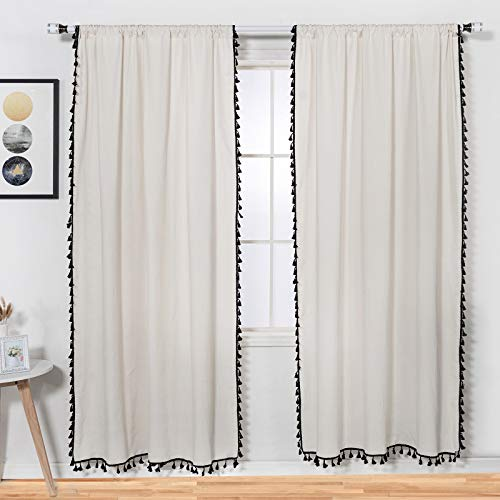 84 Inch Boho Curtains 2 Panels - Curtains with Tassels, Light Filtering Window Curtains (Off White, Linen)