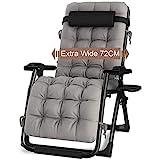 AILZNN Im Freien Liegend Schwerelosigkeit Stuhl Wide72cm, Verstellbarer Liegestuhl Für Patio Garten Strand Pool Mit Kissen Und Getränkehalter, Unterstützt 200kg,Black-72×170×110cm(28×67×43inch)