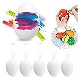 Sinwind 50 Pezzi Uova Pasquali da Appendere, Uova di Pasqua Decorazioni, Pittura di Artigianato Fai da Te di Pasqua per La Decorazione e Regalo