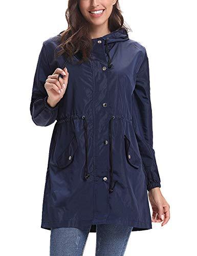 Abollria Waterproof Jackets Women Outdoor Lightweight Windbreaker Raincoat Hooded Rain Jacket,Navy Blue,XL