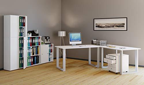 VCM Eckschreibtisch, Schreibtisch, Büromöbel, Computertisch, Winkeltisch, Tisch, Büro, Lona 190x130x50: Weiß