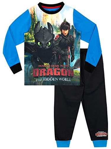 How to Train Your Dragon Pijamas de Manga Larga para niños Negro 5-6 Años